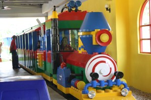 Choo choo train aboard the colorful Legoland Express.