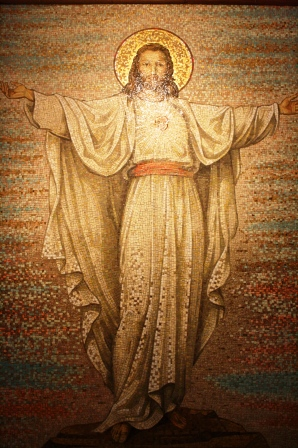 Larger than life mosaic of the risen Christ.