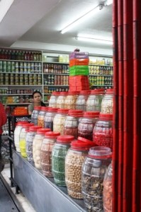 Chinese sweets, pickles, nuts, and other food items are also found in Carvajal St.