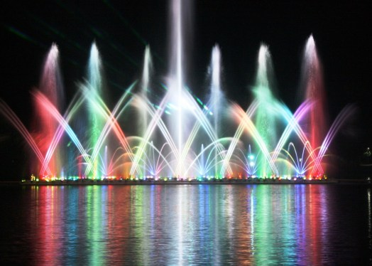 Colorful lights brightened the lake during the water fountain show.