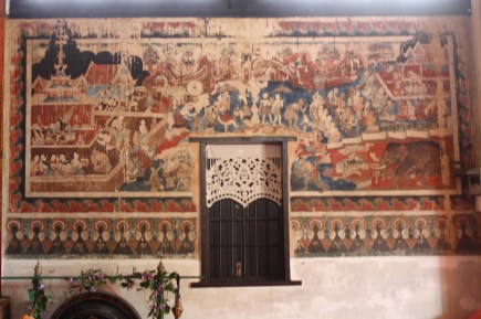 Mural paintings inside the temple's walls.