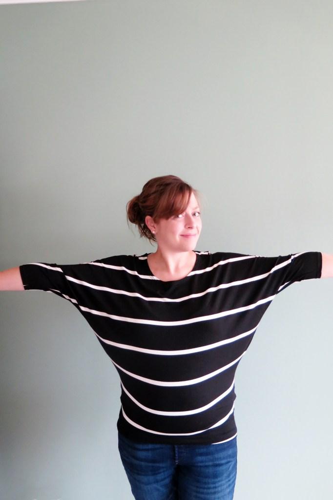 Renee C Jemdy Striped Dolman Sleeve Jersey Knit Top