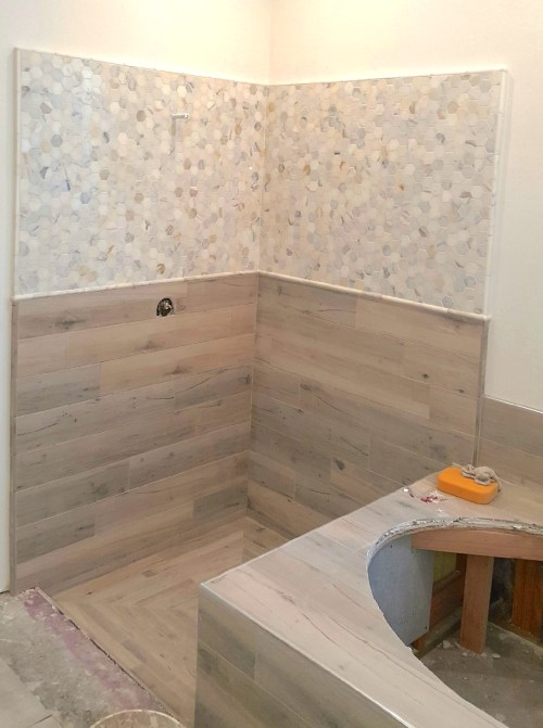 Medium Of Wood Tile Shower