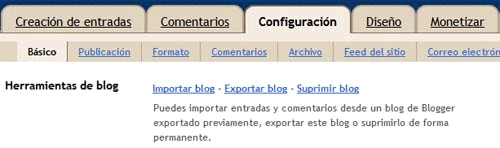 Crear copia de seguridad en Blogger