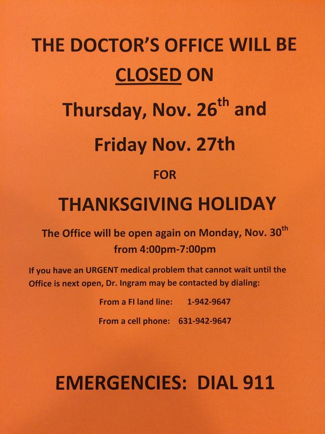 FI Doctor\u0027s Office Thanksgiving Hours \u2013 FishersIslandnet