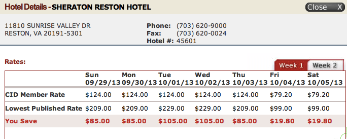 Sheraton Reston Rates for a Sample Week in October 2013