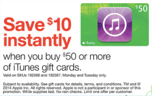 $10 off $50 iTunes Gift Card at Staples