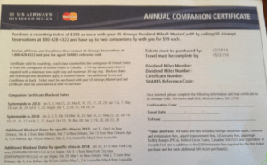 US Airways $99 Companion Certificate