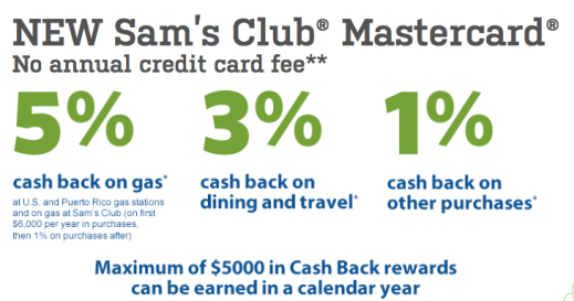 Sam's Club 5:3:1 Cash Back MasterCard