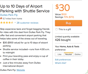 $30 for up to 10 days parking at IAD