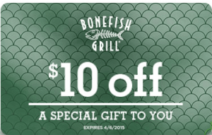$10 off your meal at the Bonefish Grill