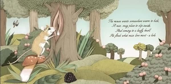 <b>Мышонок хочет спрятаться в каком-то теплом месте, в этом приятном и укромном месте, тобы поспать там внутри. Добравшись до покрытого листьями бугорка, он находит то, что мыши любят больше всего — нора.</b><br/><br/>
