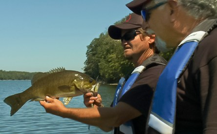 Pete displays a gorgeous Mountain Lake Smallmouth.