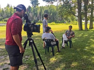 A shot from behind the scenes; interview with lodge owner Ray Sapiano