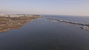 Here's an aerial of the Whitby Harbour mouth in the fall