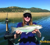 Rachel Smith rounded up this quality rainbow trout while fishing New Melones Reservoir with her dad Kevin on June 26.