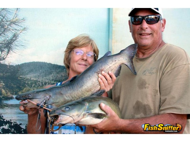 David and Angela doubled up on whiskerfish while fishing Collins Lake in late September.