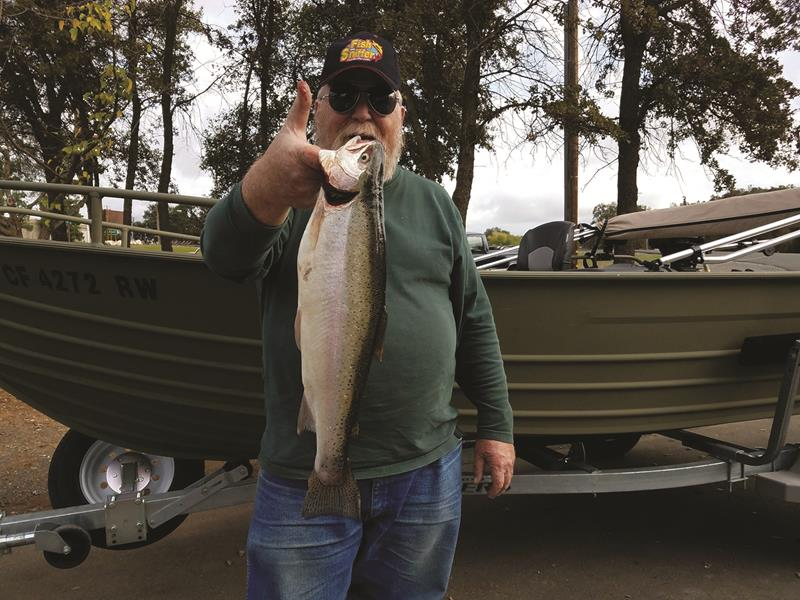 Michael Nelson pulled this beautiful trout out of New Melones Reservoir during a late fall trolling trip.