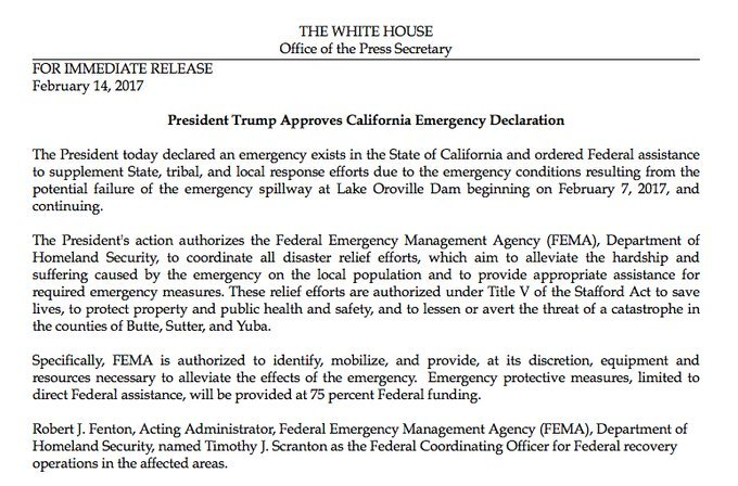Trump administration approves Governor Brown's disaster relief requests