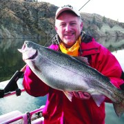 A big smile for a big rainbow! The combination of flash and vibration put off by a Wedding Ring Spinner was just too much for this trout to ignore. Wedding Rings have been producing trout and salmon for West Coast anglers for over 40 years.