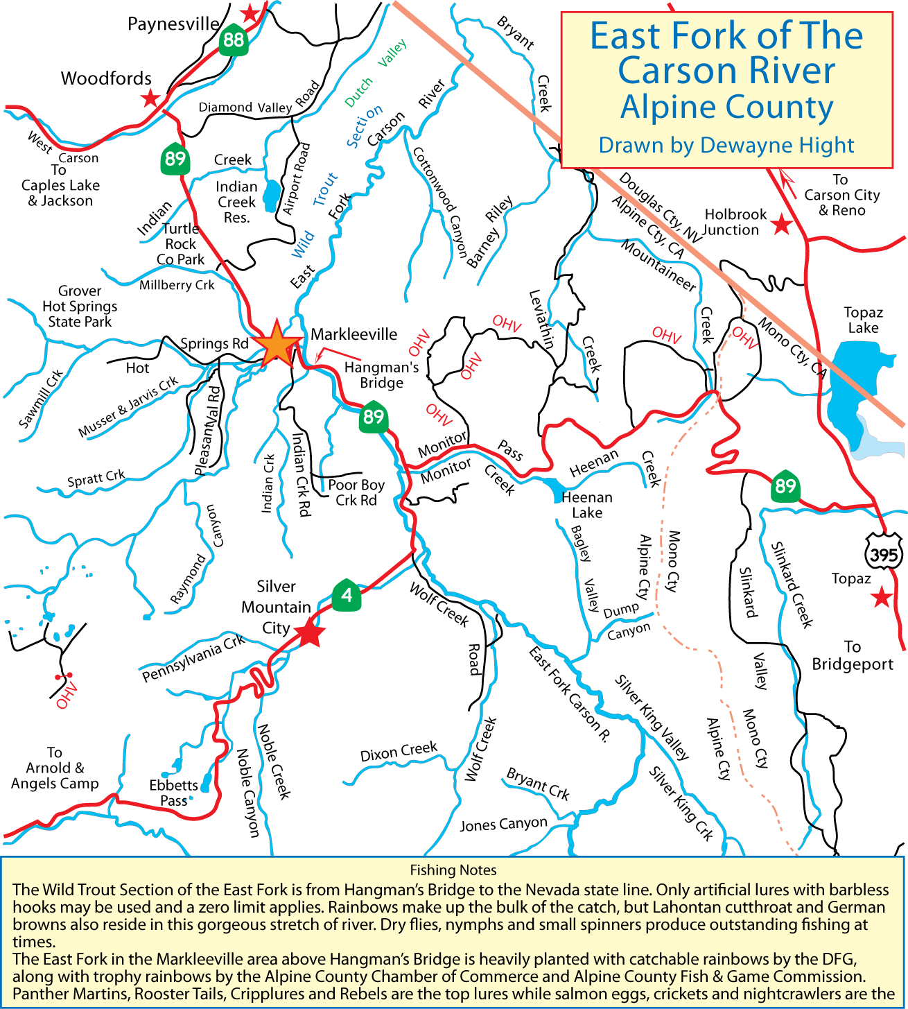 Maps for East fork lake fishing report