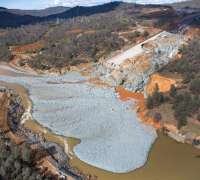 The heavily eroded Oroville Dam spillway after flows over the spillway stopped. Photo courtesy of DWR.