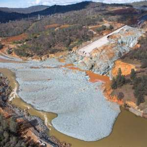 The enormous erosion damage to the Oroville Dam's primary spillway is shown here.