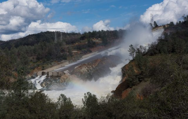 The primary spillway at Orovile Dam with 100,000 cfs going into the Feather River.