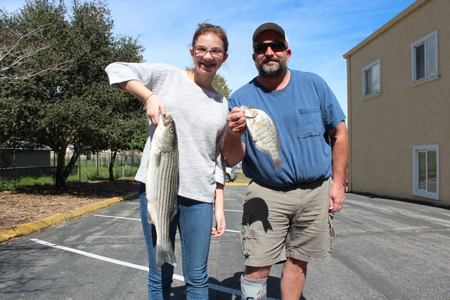 Rosie Teresi caught this 5 lb. 8 oz striper while fishing a sandworm off Seabright Beach with her father, Nino, who nailed this surfperch.