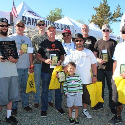 The adult winners of day two of the SMUD Rancho Seco Trout Derby pose with their trophies.