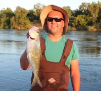 Sergey Voznyuk of Sacramento displays a hefty shad that he landed at Harrington's Access on the American River this May.