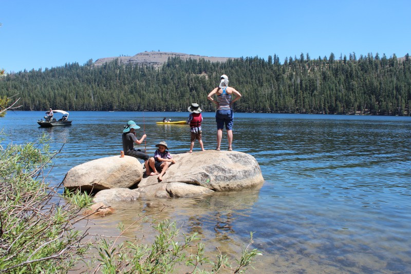 Gorgeous Lake Alpine has great fishing, swimming, camping and hiking access.