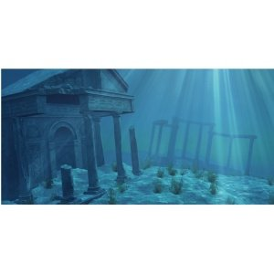 Creations Static Cling Aquarium Background 36 by 18 Inch Ruins 0