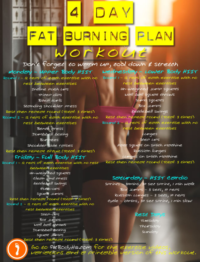 4 Day Fat Burning Exercise Plan - FitBodyHQ - gym workout for weight loss