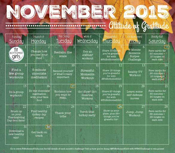 How To Make A Calendar To Print For Free 2015 Print Your Own Free Calendar My Calendar Maker Embrace An Attitude Of Gratitude With The November Fit