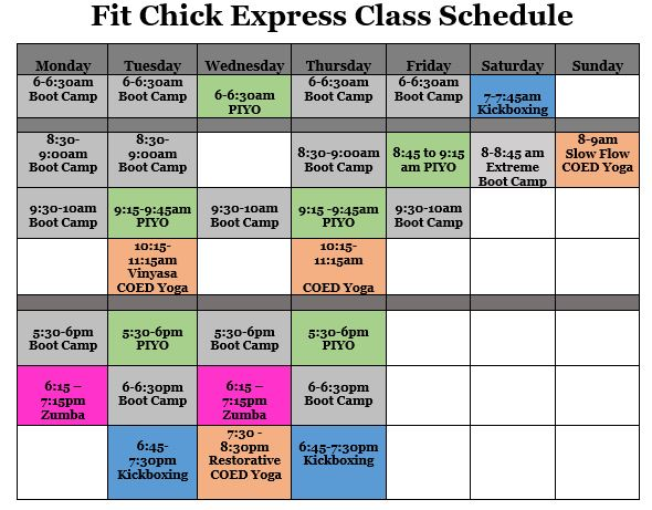 All Class SChedule May 2016