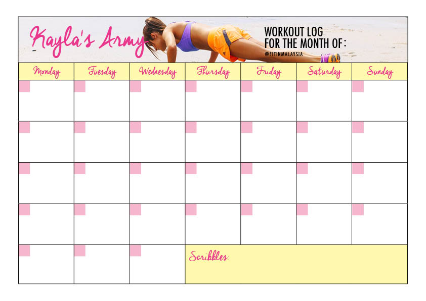 FREE Printable \u2013 Kayla\u0027s Army Workout Log! \u2013 fitinmalaysia - workout calendar