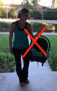 how not to carry a car seat