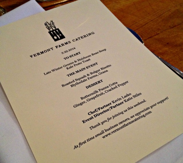 Perfect Vermont: Dinner Menu with Vermont Farms Catering