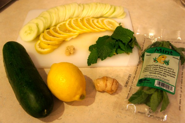 lemon cucumber mint ginger detox water recipe
