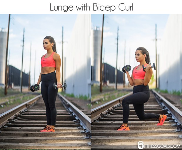 lunge with biceps curl