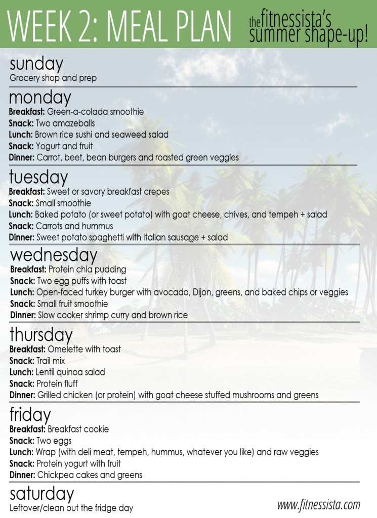 Summer Shape Up 2012 Week 2 Meals - The Fitnessista - how to plan weekly meals for two