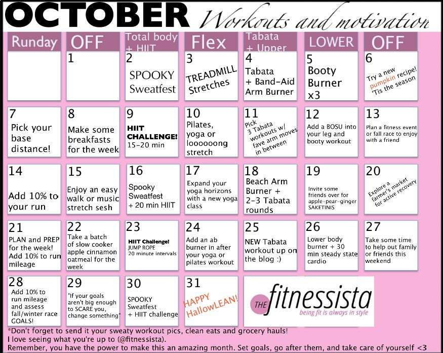October Workout Calendar - The Fitnessista - sample workout calendar