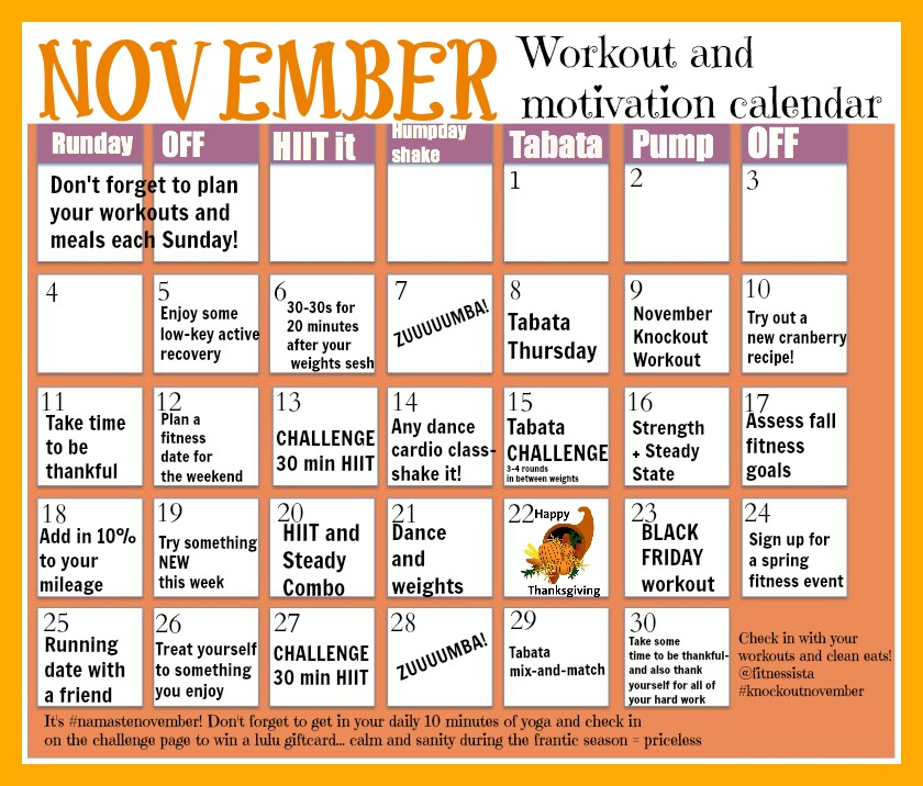 November Workout Calendar - The Fitnessista