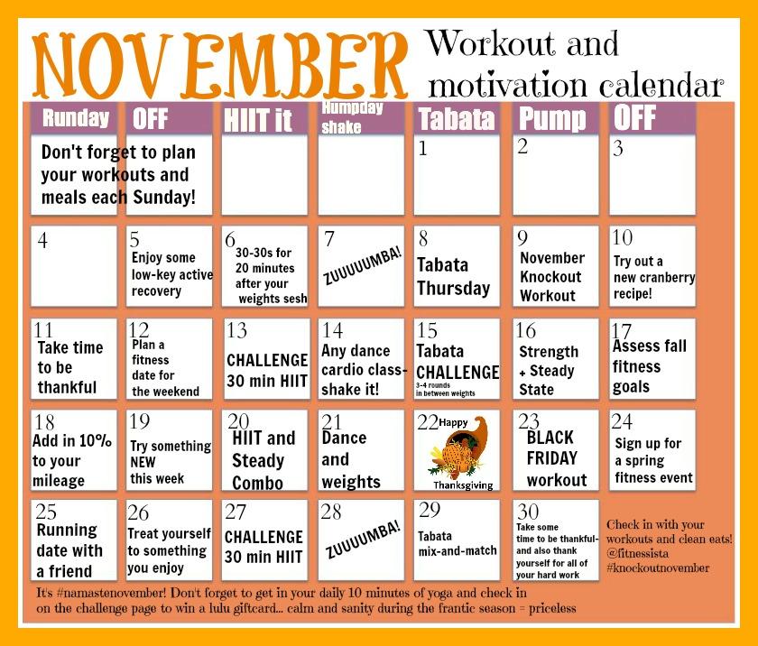 November Workout Calendar - The Fitnessista - sample workout calendar