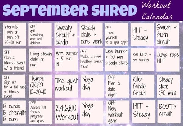 September Shred Workout Calendar - The Fitnessista