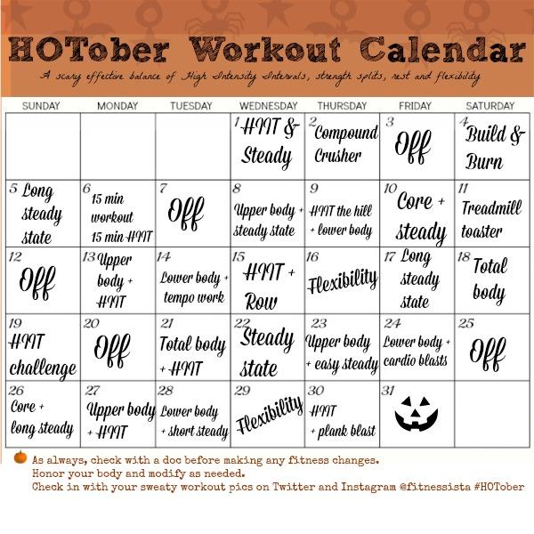 HOTober Workout Calendar - The Fitnessista