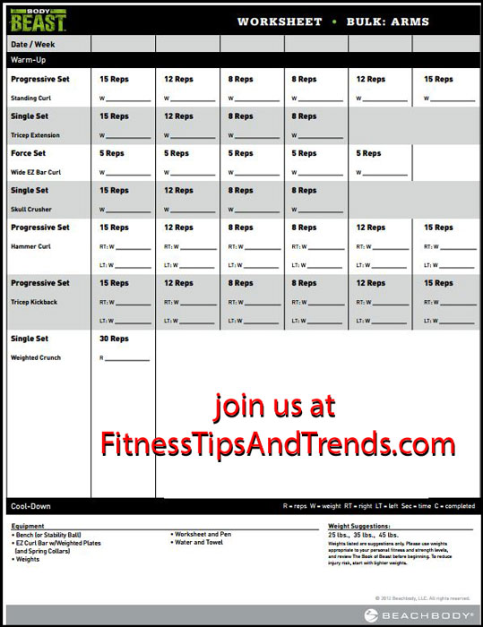 Body Beast Bulk Chest Workout Sheet \u2013 Berry Blog