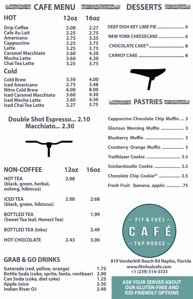 Our Cafe Menu - Fit  Fuel Cafe and Tap House - Coffee Bicycles