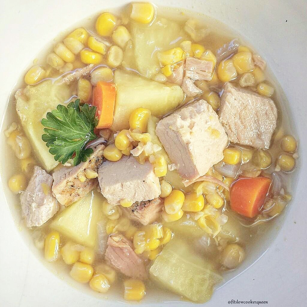 Slow Cooker Skinny Turkey Corn Chowder